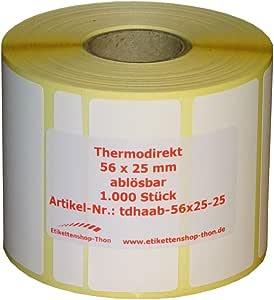 "Thermodirekt Eco 1/"" ablösbar 1000 Thermo Etiketten Rolle 100 x 100 mm"