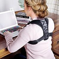 Corrección de postura espalda Unisex recta plana banda hombro ajustable Cinturón Negro para Mujer y Hombre Transpirable, negro