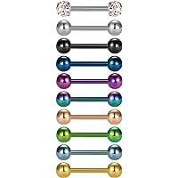 Briana Williams 10pcs Acciaio Inossidabile 316L Bar Lingua Anello capezzolo Set 14 Gauge 12/14/16/18mm Piercing Gioielli