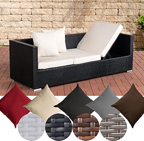 CLP flexibles Poly-Rattan 3er Lounge-Sofa SOLANO, ALU-Gestell, 4 Rattanfarben + 5 Kissenfarben, inkl. Auflagen Rattanfarbe: Schwarz, Kissenfarbe: Cremeweiß