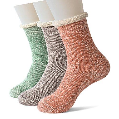 Sweet Nana 3 Frauen Super dicken Boot Thermosocken warme Winter für kaltes Wetter, Soft Comfort Haus Pantoffel Socken (Grüner Kaffee orange) (Womens Quartal Socken)