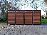 BBT@ | Premium Mülltonnenboxen für 4 Tonnen je 120 Liter Grau / Front-Edelholz / Vollverzinkte Bleche hochwertig pulverbeschichtet / Fronttür Edelholz