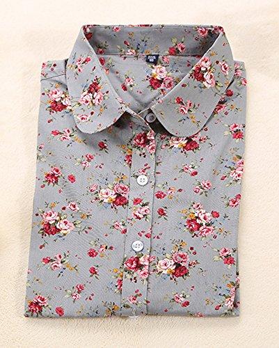 Femme Chemisiers Et Blouses Manches Longues Lâche Floral Imprimé T-Shirt Chemise Top Gris