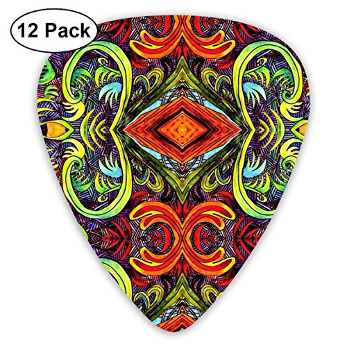 Mango Mandy Tropical Brocade_3036 Classic Celluloid Picks, 12-Pack, For Electric Guitar, Acoustic Guitar, Mandolin, And Bass -