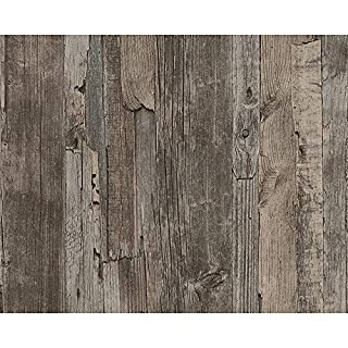 AS Creation Distressed Driftwood Wood Panel Faux Effect Embossed Wallpaper (Dark Brown 954051)