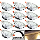 Hengda® 10 pcs 5W LED Einbauleuchten set, 230v Dimmbar Innenbeleuchtung Einbauleuchte Flach Leuchtmittel für küche Badezimmer Wohnzimmer Einbauspot Warmweiß 420 Lumen
