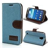NALIA Klapphülle für Samsung Galaxy S4 Active, Hülle Slim Flip-Case Kunst-Leder Vegan, Etui Schutzhülle Book-Case, Dünne Vorne Hinten Handy-Tasche Wallet Bumper für Samsung S4 Active - Hell Blau