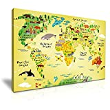 YES ART Animals Map of the World for Children and Kids Picture Print Stretched Canvas Wall Art 76x50cm