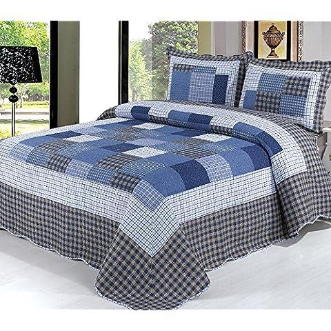 Beddingleer Juegos de sábanas 100% de Algodón acolchada Extensión de la cama Colcha Impreso a Cuadros de Edredón, 3 Pedazos, la Marina de Guerra, Doble / Superior, 230x250cm