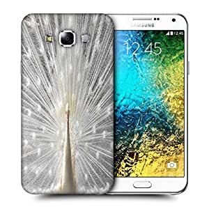 Snoogg White Peacock Printed Protective Phone Back Case Cover ForSamsung Galaxy E7