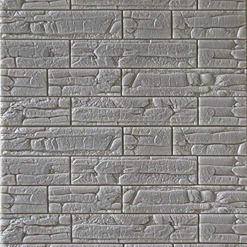 3D Selbstklebend Backstein Wandsticker, Schaum Wasserdicht Anti-kollision Verdickung Wandpaneele Sofa-Hintergrund Für tv-wände -grau 60x70cm(24x28inch) (Sofa Grau Schnitt)