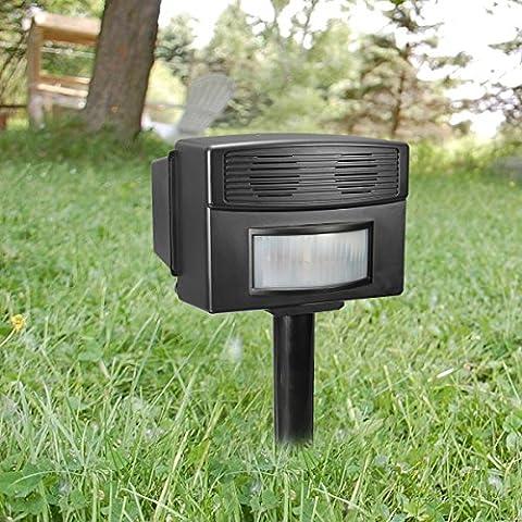 Animal Repeller[Superior Version],Drillpro Battery Powered Ultrasonic Pet Repellent/PIR Animal Deterrent Spike(Range:150-200Square Meters,Frequency:25kHz+/-10%) For Animal(Cat/Dog/Fox/Rabbit/Deer/Pig/Elephant/Squirrel/Mice/Rats) on Garden Yard Field Farm Glassland,Range-30Ft(Adaptor & Battery Not