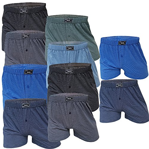SGS 10 Boxershort Herren Unterhosen Boxershorts Men Baumwolle (10/3XL, 10.Stück mit Eingriff)