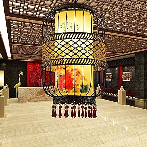 MSUXT Iluminación colgante Arte chino clásico de hierro en forma de jaula, linternas de luz roja vitela restaurante salón dormitorio estudio