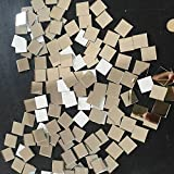 Set von 200 Stück kleinen Platz Glas Handwerk, Echtglas-Spiegel Mosaik Fliesen 1 x 1 cm