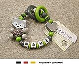 Baby Greifling Beißring geschlossen mit Namen | individuelles Holz Lernspielzeug als Geschenk zur Geburt & Taufe | Mädchen & Jungen Motiv Fuchs und Herz in grau grün