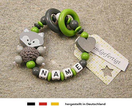 Baby Greifling Beißring geschlossen mit Namen   individuelles Holz Lernspielzeug als Geschenk zur Geburt & Taufe   Mädchen & Jungen Motiv Fuchs und Herz in grau grün