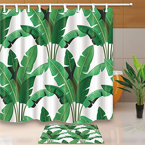 limttednethard Tapete Decor, tropischen Blätter Palm 39,9x 59,9cm Schimmelresistent Polyester Stoff Vorhang für die Dusche Anzug mit 39,9x 59,9cm Flanell rutschfeste Boden Fußmatte Bad Teppiche
