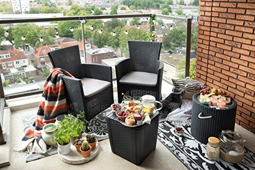 Allibert 229286 Balkonmöbelset, Rattan, Iowa Ba Lcony, 3-tei Lige Set Balkonmöbel Rattan, grau, 80 x 50 x 60 cm - 6