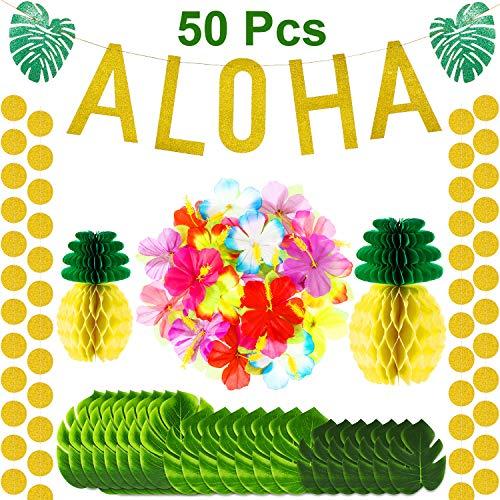 waiian Tropisch Jungle Party Dekoration Kit, 24 Stücke Tropisch Palm Blätter, 24 Stücke Seide Hibiscus Blumen, 2 Stücke Seiden Papier Ananas, 1 Aloha Banner für Luau Party ()