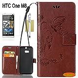 In Angel(TM),HTC One M8 Hülle,M8 Hülle PU Leder Brieftasche Hülle Stand Blatt Schutz- Hülle mit Karte Halter Hülle für HTC One M8 Braun