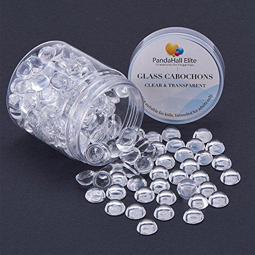 PandaHall Elite Flat halbrund Transparent Dome Glass Cabochons Durchmesser in 9-10mm fuer Foto Basteln Schmuck machen 180 Stk/Kasten