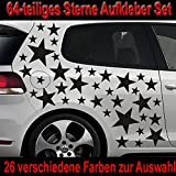 64-teiliges Stern Tuning Auto Aufkleber Styling Sticker Set - ST_001 (070 schwarz)