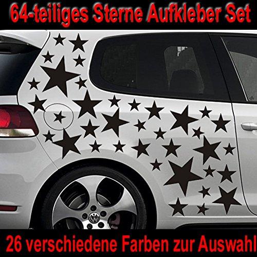 64-teiliges Stern Tuning Auto Aufkleber Styling Sticker Set - ST_001 (070 schwarz) (Schwarz Lackiert Glänzend)