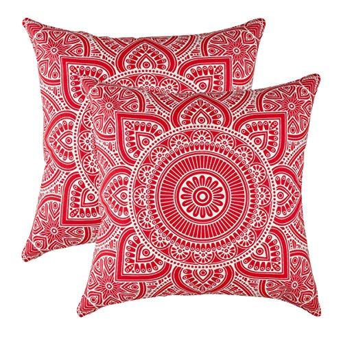 Treewool, (confezione da 2 federe copricuscino decorative con motivo mandala, in cotone (60 x 60 cm, rosso (red))
