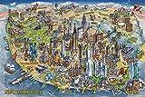 empireposter 715128 Maria Rabinky- New York Map - Landkarten Poster Länderflaggen, Papier, Mehrfarbig, 91,5 x 61 x 0,14 cm