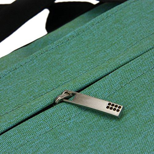 Greenery Unisex Nylon Laptoptasche Notebooktasche Laptop Hülle Case Schultertasche Umhängetasche Aktentasche Messenger Bag für Damen Herren für Lenovo MacBook DELL Notebook bis 38cm 15 Zoll (Grau) Grün