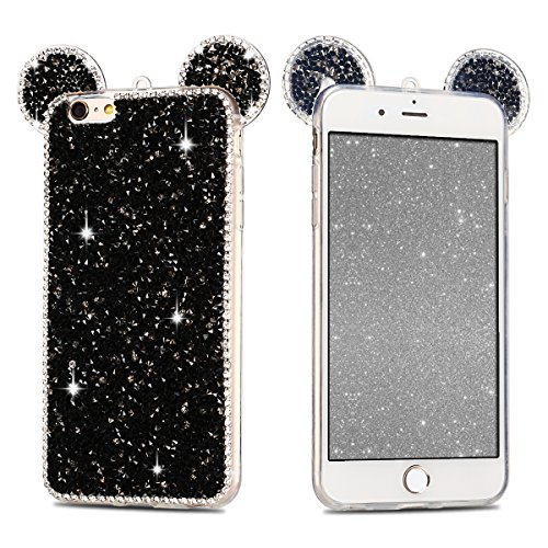 iphone 6 Plus Hülle,E-Lush TPU Bling Diamant Strass Silikon Schutzhülle Handy Hülle für iphone 6 Plus Shiny Glanz 3D Mouse Ear Design HandyHülle Kratzfeste Scratch-Resistant Stoßfest Etui Bumper Case  schwarz