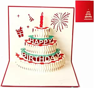 Greeting Cards Birthday, Deesospro® Birthday Card Gift for your Relatives, Friends and Lovers Special,3D Pop Up Greeting Card with Beautiful Paper-Cut,Envelope Included (Happy Birthday)