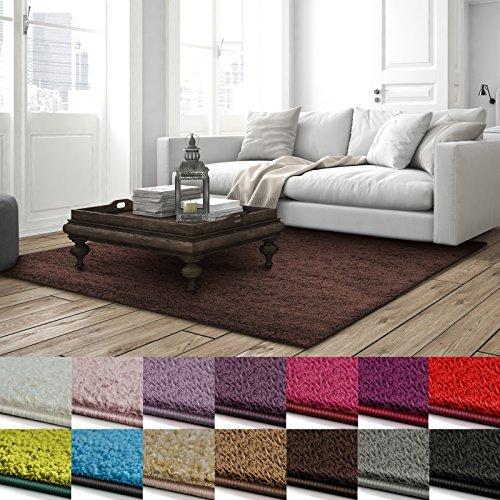 casa pura Shaggy Teppich Barcelona   weicher Hochflor Teppich für Wohnzimmer, Schlafzimmer, Kinderzimmer   GUT-Siegel + Blauer Engel   Verschiedene Farben & Größen   160x230 cm   Dunkelbraun