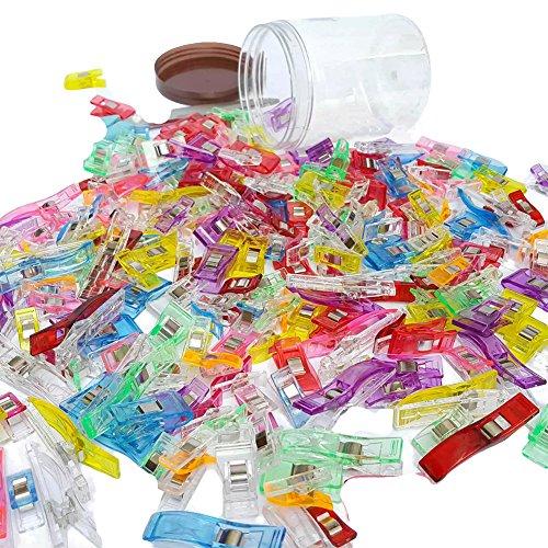 tomkity-lot-de-100pcs-clips-pinces-en-plastique-pour-reliure-couture-artisanat-couleurs-assorties