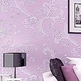 3D Pastoral Stereo Effekt Beflockung Geprägt Blume Wohnzimmer Schlafzimmer TV Hintergrund Vlies Tapete Rolle (Lila)