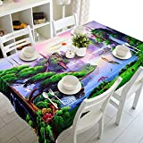 ZBGCD Tischwäsche 3D Gedruckt Tischdecke Couchtisch Esstisch Staubschutz Kiefer Fluss Tischdecke