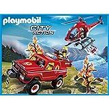 Playmobil City Action - 9518-Hélicoptère Et 4x4 De Pompiers