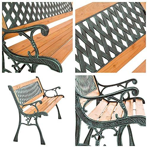 "TecTake Gartenbank Parkbank Holz – diverse Modelle – (""Tamara"" 127 x 51 x 73cm | Nr. 401423) - 5"