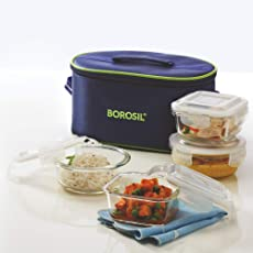 Borosil Klip-N-Store Glass Lunch Box Set with Bag, 4-Pieces, Blue