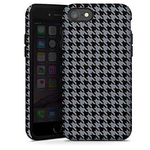 Apple iPhone X Silikon Hülle Case Schutzhülle Muster Schwarz Grau Karomuster Tough Case glänzend