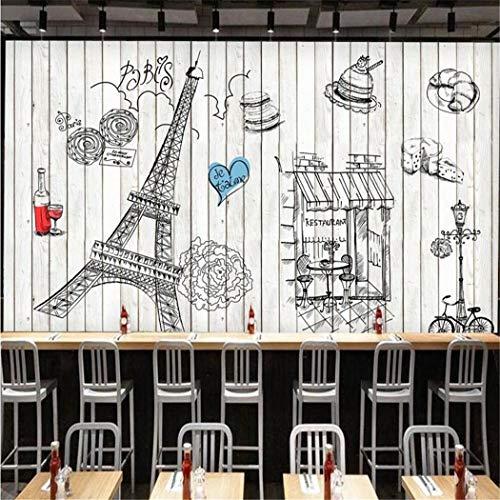 Fototapete handgemalte hölzerne Wandbild Paris Tower Tapete Bäckerei Kulisse Restaurant Küche Fresko (Foto Kulissen Von Paris)