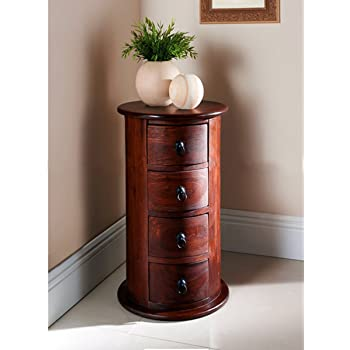 DecorNation Solid Wood Round Chest Of 4 Drawers - Indian Wood Furniture