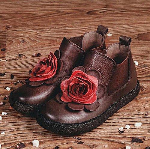 Donne Scarpe Chelsea Martin Stivali Soft Spessore Bottoni in Elastico Fascia Stereo Casual Scarpe da ginnastica in pelle di cavallo Scarpe da sposa scarpe da sposa Eu Dimensioni 34-40 ( Color : Brown , Size : 36 )