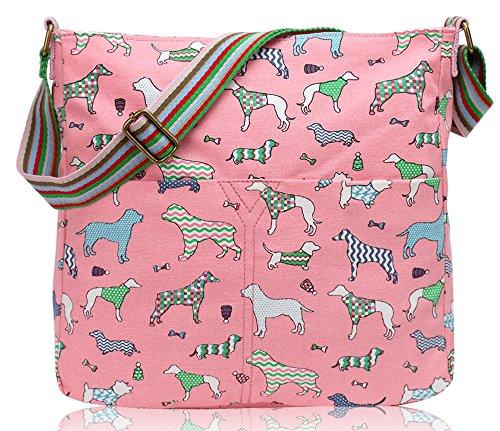 Borsa da donna a tracolla, tela cani Light Pink/GZ29E