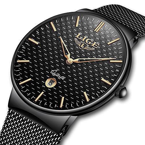 Herrenuhren Wasserdichte Edelstahl Uhr Sport Elegante Lässig Uhren Geschenk Analog Quarz Business Luxus Mode LIGE Armbanduhr Mesh Band Gold Schwarz für Männer Milanese