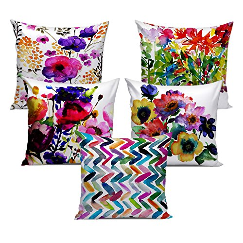 Dream Weaverz Beautiful Abstract Print Cushion Cases Set of 5 in 16*16...