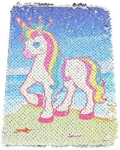 Einhorn Notizbuch, Neue A5 Notizbuch Farbe Pailletten Einhorn Tagebuch, 78 Seite DIY Persönliches Tagebuch Notizbuch, für Party Geschenke und Schulbedarf (21x14.5CM / 8.3x 5.7 IN) (Colour-8)