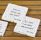 Papierservietten 2er Set gepunktet/Spruch 33 x 33 cm