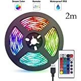 Gluckluz LED Light Strip 2M USB RGB Waterproof Decoration Lighting with Remote Control for Bedroom Kitchen Hotel Home TV Back